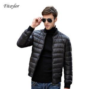 Fitaylor Winter Men Jacket 90% White Duck Down Ultra Light Thin Jackets O Neck Slim Warm Coat Basic Outwear Windproof Parkas 201214