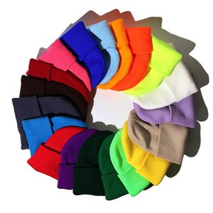 Beanie Hats Autumn Winter Wool Blends Soft Warm Knitted Cap Fashion Solid Color Skullies Ski Hats Multicolor