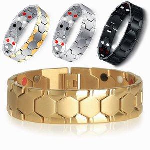 18MM Wide Health Magnet Bracelet Indian Men Jewelry Gold Color Polished Stainless Steel Mens Biker Bracelets Man Bracelet
