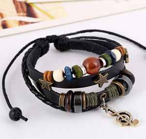 Boho Gypsy Hippie Black Brown Leather Star G Clef Musical Note Metal Charm Wooden Beads Wrap Unisex Layers Adjustable Bracelet 6Sd0C