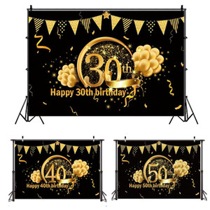 QIFU Birthday Background Decor 30 40 50 Birthday Party Decor Adult 30th 40th 50th Party Supplies 30 Years Anniversary