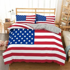 Modern Style Star Stripe Flag Bedding Collection American Flag 3 D Quilt Set King Queen Bedding Set Bed Sheets and Pillowcases