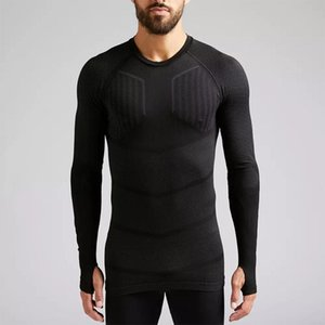 Men's Long-Sleeve Close-Fit Sports Jersey Thermal Training Top Football Gym Fitness Winter Compression Tech Base Layer