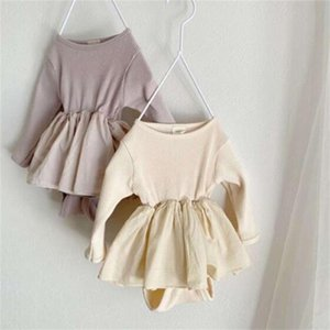 Facejoyous Autumn Bodysuits Skirt Uniform Cotton Ribbed Knitted Jumpsuit Baby Boys Girls Clothes 201216