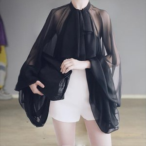MSXU мода CHIC SEXY SEECK через шифоновые фонарики вручную вручную женские блузки рубашки
