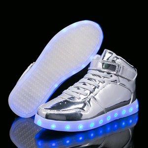Chauffer à la maison Silver Gold 26-40 USB Chargeur Chargeur Gloying Sneakers LED enfants Chaussures Lumières Boys Filles Sneaker lumineux illuminé