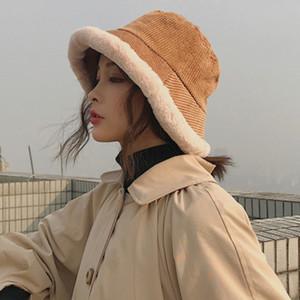 Luxury-HT2827 Thick Warm Fleece Lined Winter Lady Corduroy Cute Flat Top Bucket Cap Female Packable Wide Brim Panama Hat