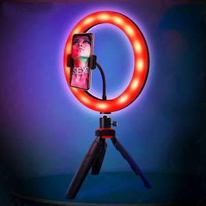 RGB Desk Selfie Light Ring with Tripod Phone Holder Bluetooth Remote for Makeup Live Stream Photographic Lighting on Youtube