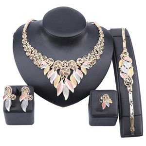 Women Party Bridal Crystal Leaves Jewelry Sets For Wedding Party Dinner Dress Necklace Bracelet Ring Earring Jewelry Sets