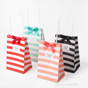 Small paper bag with handles bow Ribbon stripe handbag Cookies candy Festival gift packaging bags Jewelry birthday Wedding OWD2922