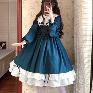 Sweet lolita dress vintage printing lace angel lace bowknot high waist victorian dress kawaii girl gothic lolita op cos
