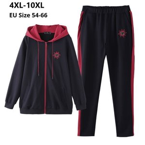 Plus Size 10XL 8XL 6XL 4XL Long Sleeves Femme Spring Autumn Tracksuit Female Hoodies Top And Pants Womens Two Pieces Sport Sets A1112
