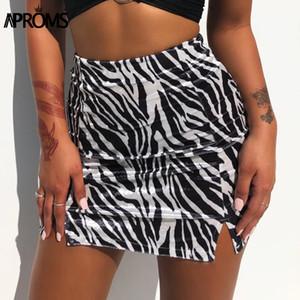 Aproms Vintage Zebra Print Soft Velvet Skirt Women Sexy Side Split High Waist Short Mini Skirts Female Back Zipper Bottoms 2020 A1121