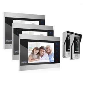 Tmezon 7 بوصة TFT السلكية الهاتف الذكي الفيديو باب الاتصال الداخلي نظام الاتصال الداخلي مع 3 للرؤية الليلية مراقب + 2x1200tvl rainproof doorbell الكاميرا 1