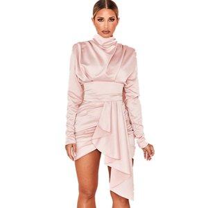 Deive Teger New Blush Heavy Satin High Satin Drapé Drapé Robe d'hiver Mode Élégante fête sexy pour femmes 8261 LJ201202