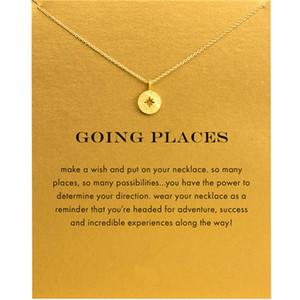 Новый Северный Звезда Компас Compaps Choker Ожерелья Золото Серебро с Открытой Картой Ожерелье для Модных Женщин Ювелирные Изделия