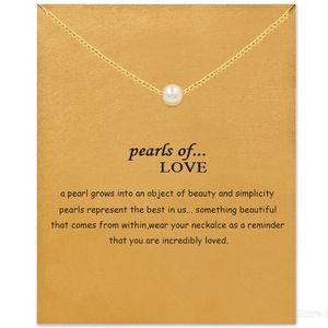 Choker Halsketten mit Karte Gold Silber Pearl Anhänger Halskette Für Mode Frauen Schmuck Perlen der Liebe