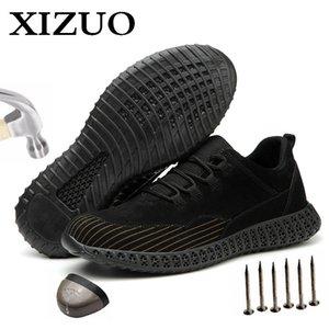 Xizou Hombre Malla al aire libre Luz Transpirable Sneakers de seguridad Desodorante Anti-estático Nuevo Diseño No resbalón Hombres Botas Dropshipping 201202