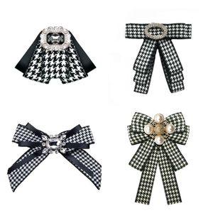 Classic Plaid Black White Fabric Bow Tie for Ladies Pearl Brooch Rhinestone Flower Shirt Collar Pin School Uniform Accessories