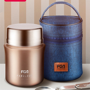 FUGUANG 700 1000ml Food Thermal Jar Vacuum Insulated Soup Pot Thermos Container 304 Stainless Steel Lunch Box with Folding Spoon 201016