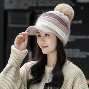 Hat girl winter Korean fashion Plush thickened wool hat autumn winter warm knitted hat mixed color cute cap girl