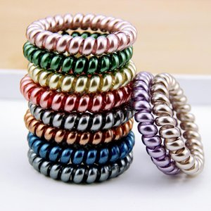 2020 New Women Scrunchy Girl Hair Coil Rubber Hair Bands Ties Rope Ring Ponytail Holders Telephone Wire Cord Gum Hair Tie Bracelet