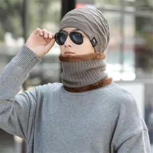 Ladies Mens Winter Warm Women Wooly Thick Knit Hat And Scarf Set Woollen Ski Cap Warm Brimless Fur Bonnet Men's Cap1