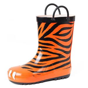 New Fashion Tiger Childrens Shoes PVC Rubber Kids Baby Cartoon Shoes Childrens Water Shoes Waterproof Rain Boots