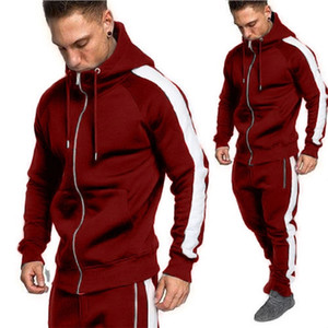 Zogaa Joggers Tracksuit Two Hoodies Sweatpants Casual Zipper Outwear Sweat Suit 2 Piece Men Outfit Matching Set T200324