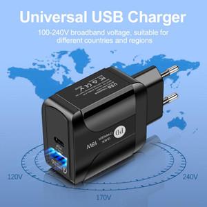 USB PD 18 W Hızlı Şarj 3A QC 3.0 Cep Telefonu Şarj USB Tipi C Çıkışları 2 1 Güç Kaynağı Adaptörü Takım AB ABD İNGILTERE Soket için 50 adet