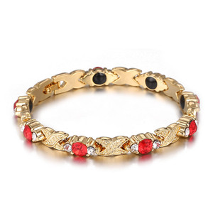 Luxury Women Crystal Magnetic Bracelets Gold Color Titanium Steel Therapy Health Bracelet Link Chain Bracelets Jewelry Gift for Ladies Girls