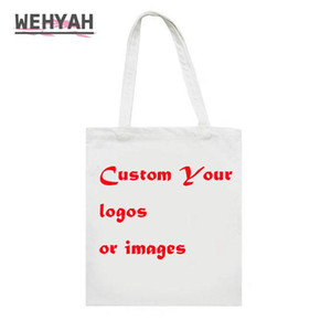 Wehyah Customized Your Image Canvas Ladies Hand Bags for Women 2020 Students School bag Purse Clutch Tote Printed Bag ZY151