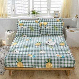 100% cotton elastic fitted sheet bed linen bedspread mattress protective cover + 2 pillow cases