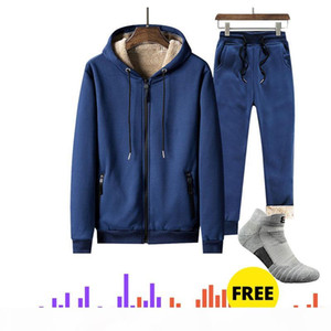 DropShipping Men's Sportswear Set thermal Tracksuit Full Zip Hoodies Fleece Joggers Fashion sports Mens sweater sweatpants suit