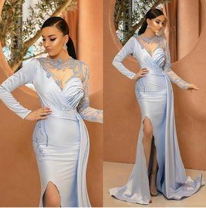 Сексуальные раскол вечерние платья вечерних платьев сатин Аппликация с длинными рукавами с длинными рукавами выпускного вечера
