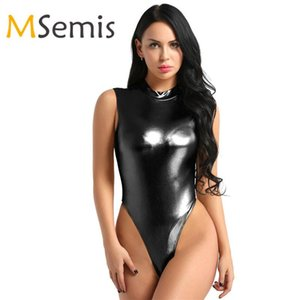Ballet Leotards for Women Leotard Bodysuit Swimsuit One-piece Shiny Metallic Lingerie Mock Neck High Cut Thong Leotard Jumpsuit
