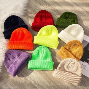 Donne Cappelli a maglia Termica Skullcap Autunno Inverno Inverno Uomini caldi Beanie Hat Unisex Winter Retro Brimless Fashion Melon Cap ZZC3062