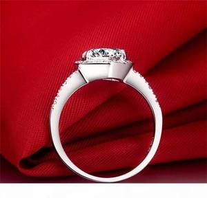K Diamond Ring Real 100% 925 Anillos de plata esterlina al por mayor Inlay 3 Carat Sona Simulación CZ Anillos de boda para mujeres RH002