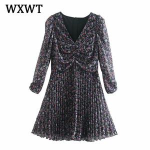 WXWT 2021 Automne Impression florale Femmes Mini robe neuf sexy col en V élégant robe dames plissées vestido ozz9884