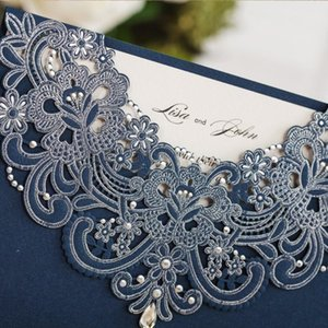 50pcs MADE Navy Blue Laser Cut Lace Flora Wedding Invitations Cards with Rhinestone for Birthday Baby Shower Engagement