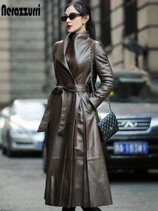 Nerazzurri 가을 트렌치 벨트 긴 소매 스커트 가짜 가죽 코트 여성 플러스 사이즈 패션 2020 7xl