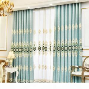 Luxus Chenille Blume gestickter transparenten Tüll Schlafzimmer Vorhang Tulle elegantes Wohnen Schlafzimmer Gardinen Schiebegardine Set