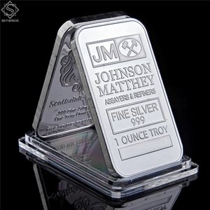 Johnson Matthey 1oz Silver Bar, 1 oz Johnson Matthey Bar Silver Breakion Bar, 50 mm x 28 mm d'emballage en plastique transparent acrylique