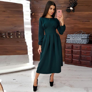 Women High Waist Vintage Straight Dress Long Sleeve Ankle Length Elegant o Neck 2019 New Fashion Solid Casual Winter
