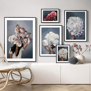 Abstract Home Decoration Feather Flower Woman Head Nordic Painting Wall Art Print Modern Poster Canvas Cuadros Modular Picture