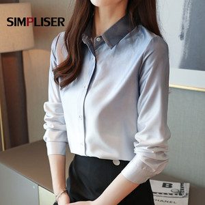 Business Suit Shirts Women Office Work Wear Chiffon Blouses Pink Blue High Quality Turn-down Collar Blusas Mujer 2020 Plus Size