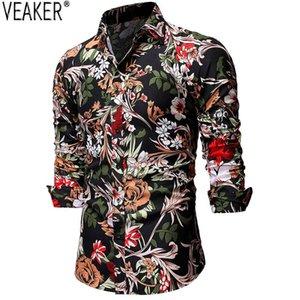 2020 осенью новый Мужская с длинным рукавом цветочные печатных рубашки мужчина Slim Fit повседневные рубашки мужчин Printed Бизнес рубашка Топы S-2XL