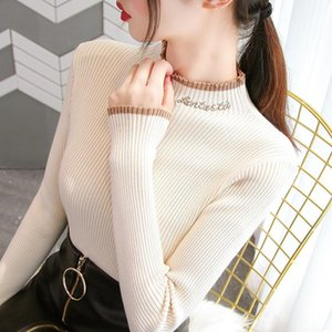 Semi-Turtleneck Sweater Top For Women 2020 Modern Autumn Winter Cotton New Style Slim Tight Knit Long Sleeve Girl's Clothes