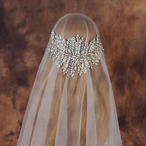 Bridal Handmade Crown Tiara Luxury Pure Rhinestone Hairband 15.5CM*34CM Large Size Hair Vine Luxury Wedding Jewelry