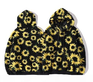 Mens Womens New Fashion Sunflower Jackets Hoodies Winter Thick Hooded Jacket Hip Hop Loose Streetwear Coats